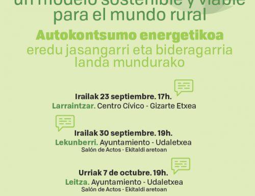 Cederna Garalur organiza tres charlas sobre autoconsumo energético.