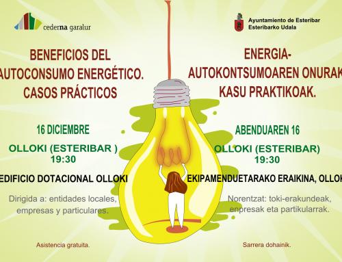 Cederna Garalur organiza una nueva charla sobre el autoconsumo energético el 16 de Diciembre en Olloki (Esteribar).