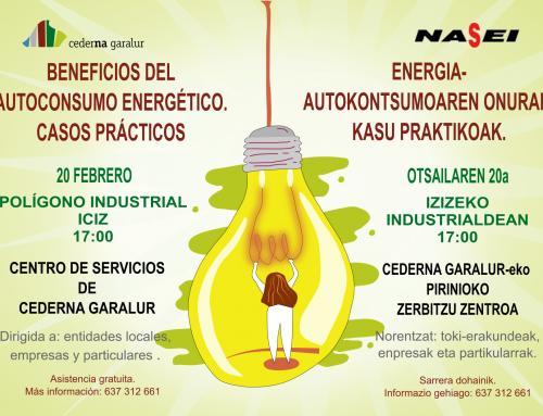 Cederna Garalur organiza una charla sobre el autoconsumo energético en Iciz el próximo 20 de Febrero.